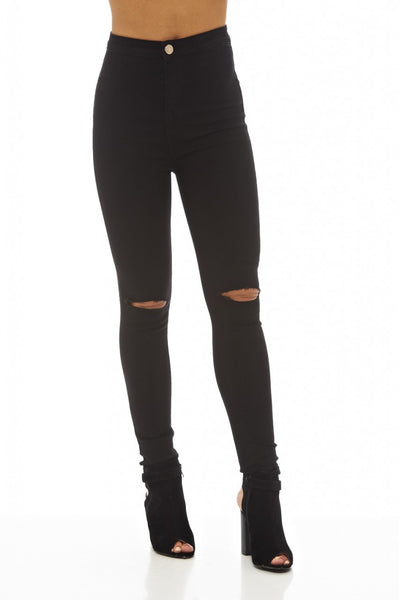 Black High   Waisted Ripped  Knee Jeans