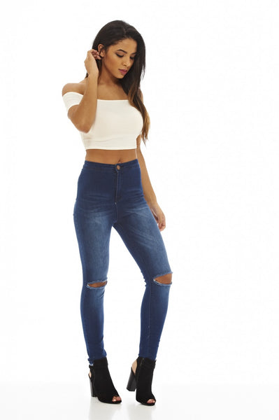 High Waisted   Ripped Knee Jeans