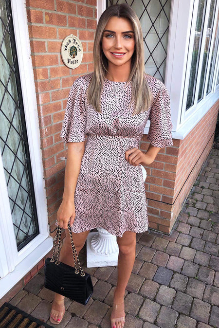 Khaki Printed Shirt Midi Dress