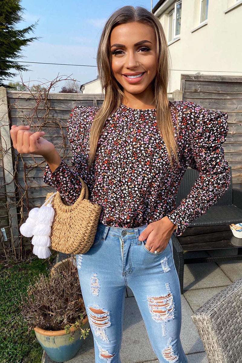 Black Floral Ditsy Frill Top