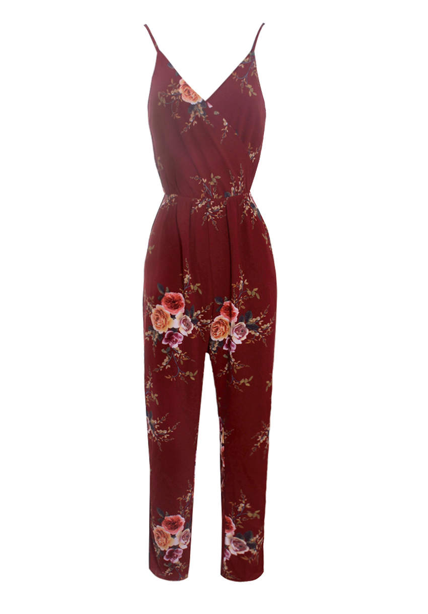 Rust Floral Printed Jumpsuit – AX Paris