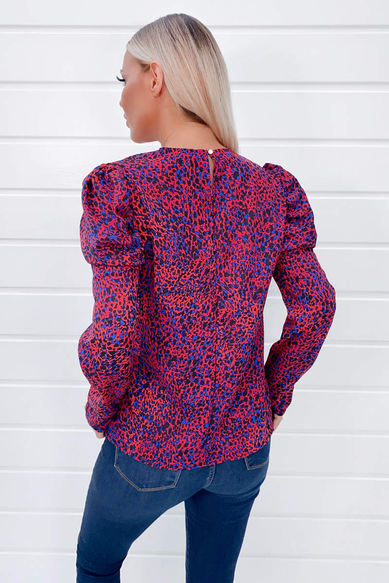 Red Animal Printed Puff Sleeve Blouse