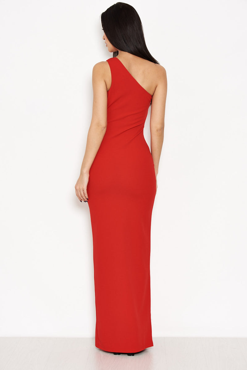 Red Asymmetric Thigh Split Maxi Dress
