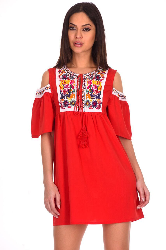 Red Aztec Cold Shoulder Dress