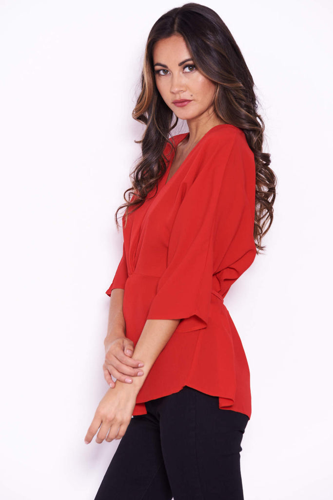 Red Belted Waist Top