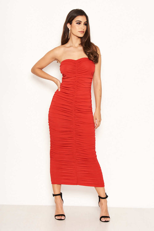 0ba97599cb0d Red Strapless Ruched Midi Dress