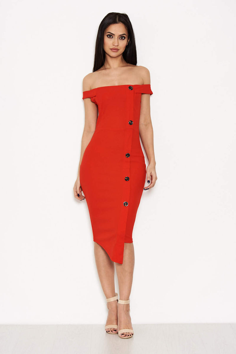 Red Button Front Bardot Dress