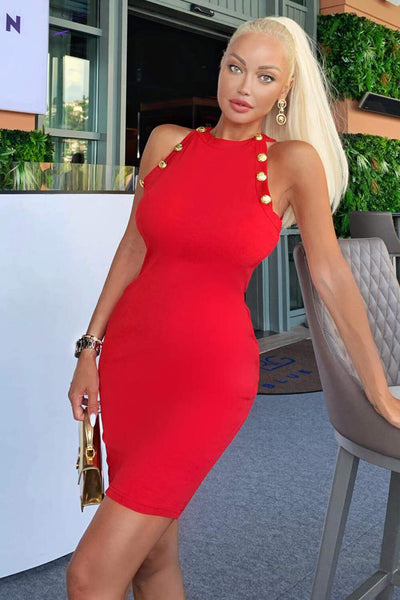 Red Button Front High Neck Dress