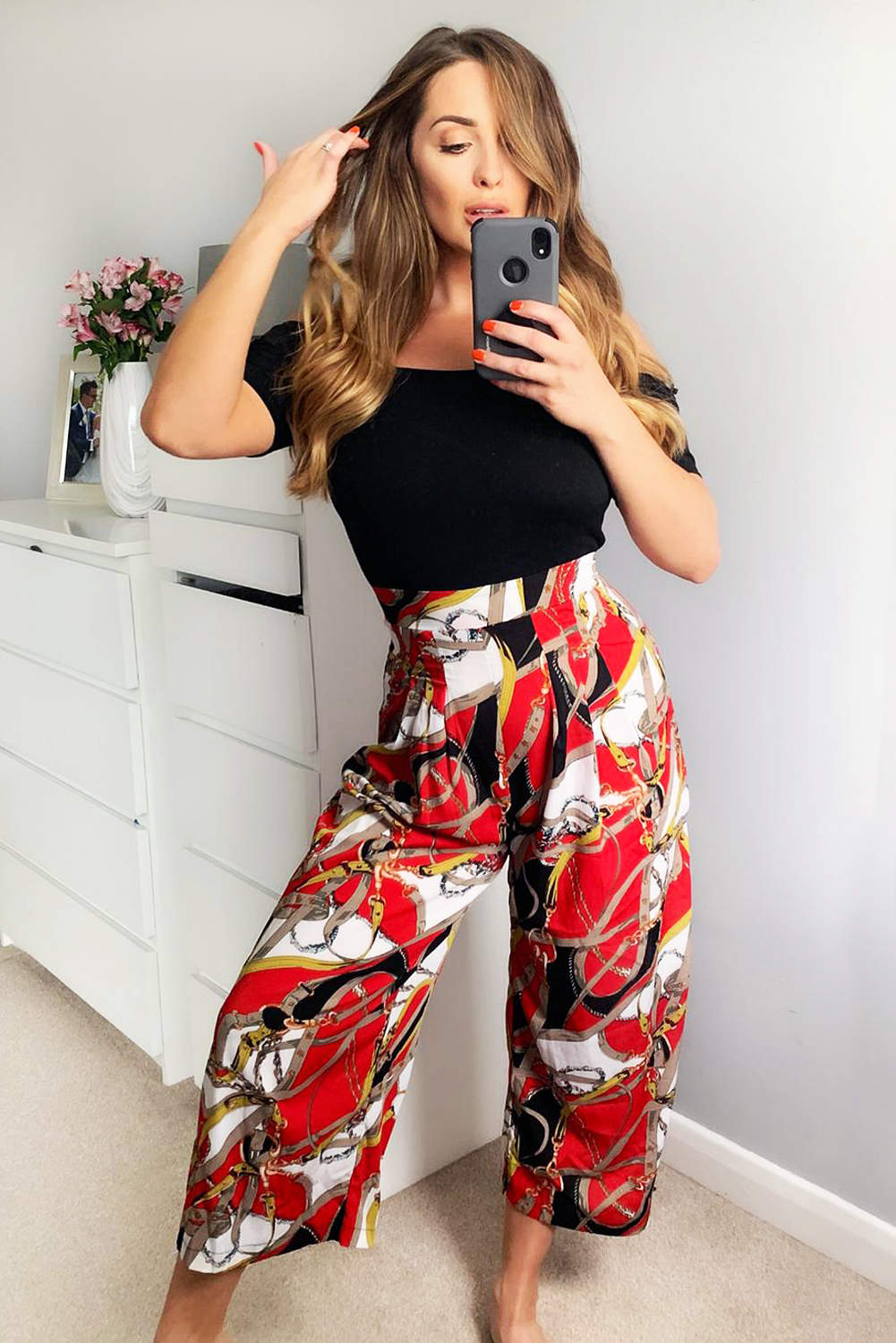 Red Chain Print Bardot Jumpsuit