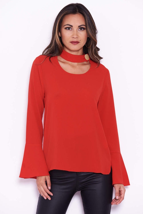 Red Choker Top With Ruffle Sleeves