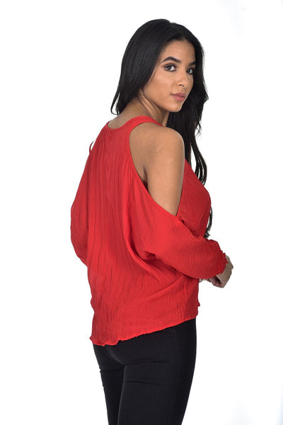 Red Cold Shoulder Pleated Top