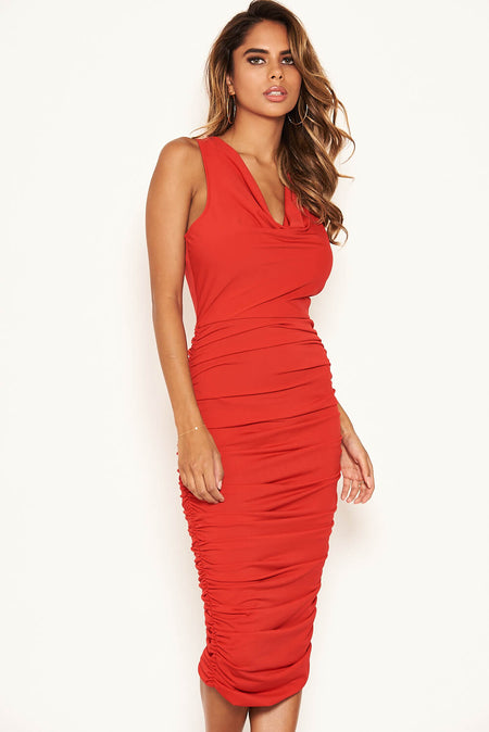 Red Off The Shoulder Cut Out Midi Dress