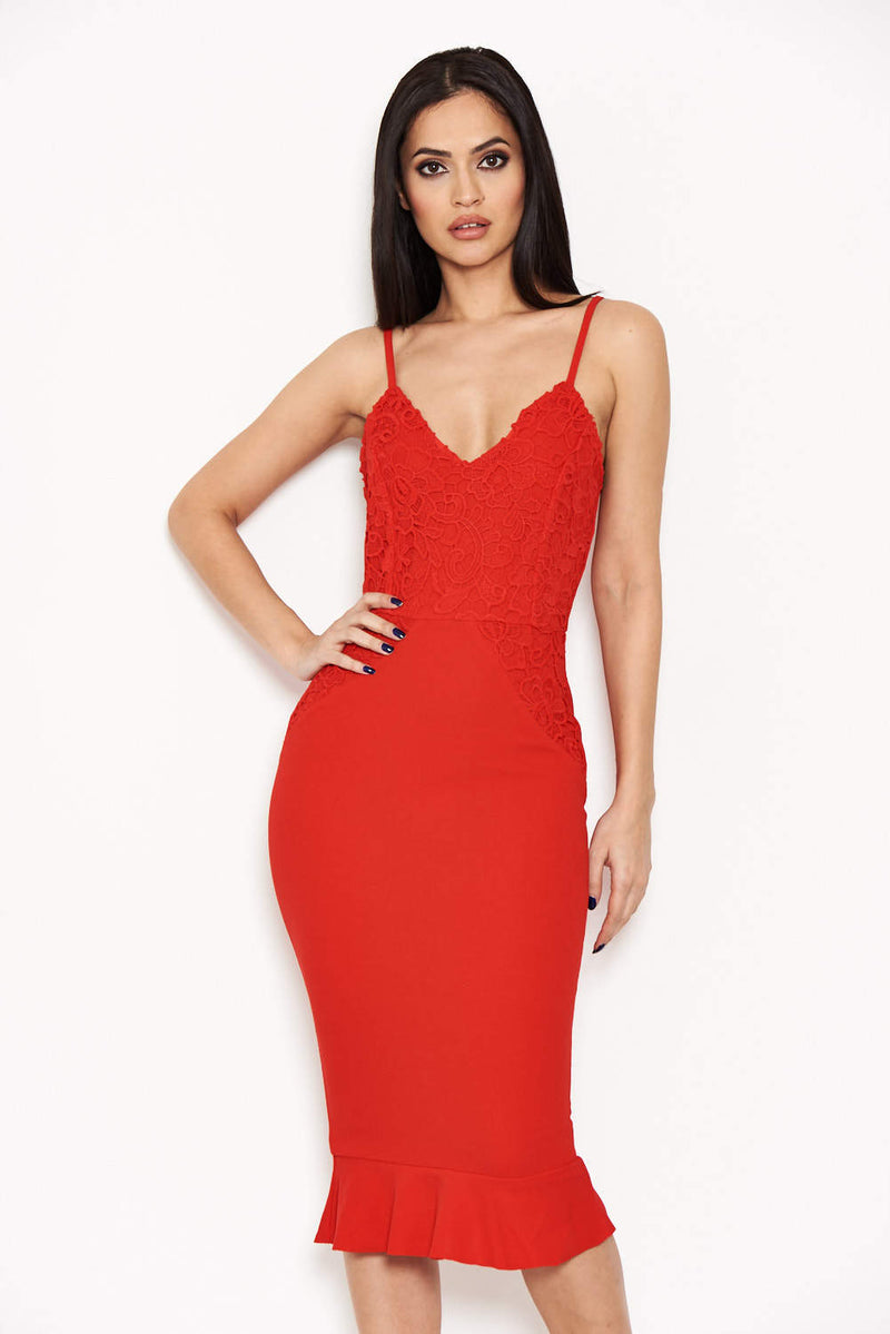 Red Crochet Embroidered Bodycon Dress
