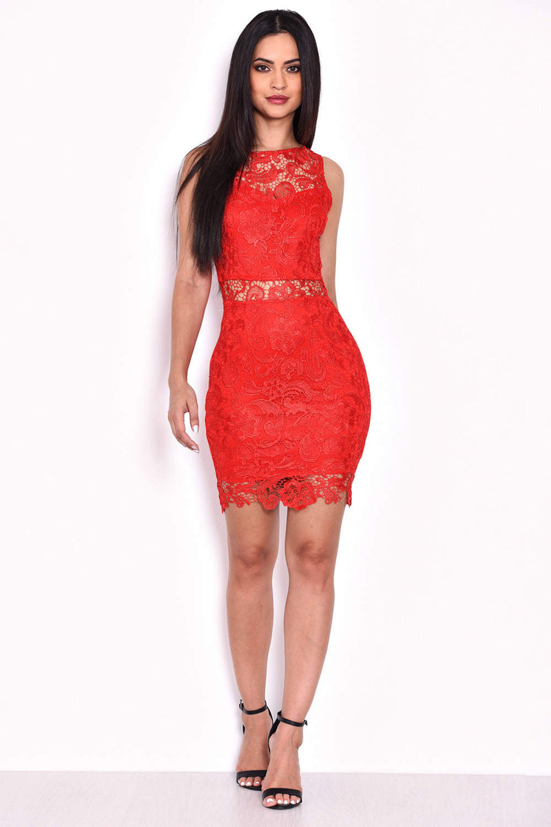 Red Crochet Embroidered Mini Dress