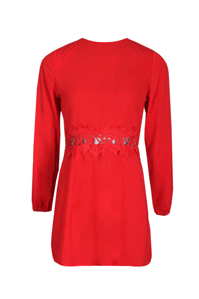 Red Crochet Waist Long Sleeved Dress