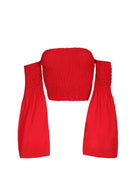 Red Crop Flare Sleeve Top