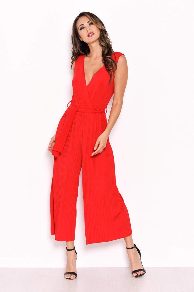 Red Culotte Pleated Tie-Waist Jumpsuit