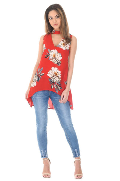 Red Curved Hem Printed Choker Top