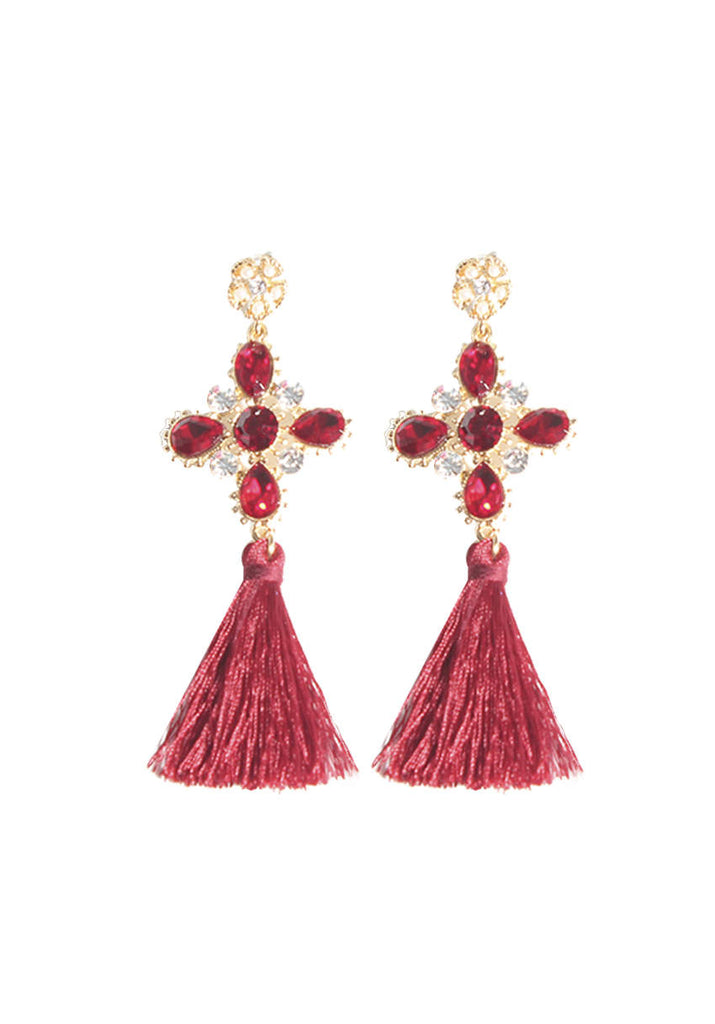 Red Diamonte Cross Tassel Earrings