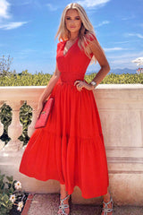 Red Elastic Waist Maxi Dress