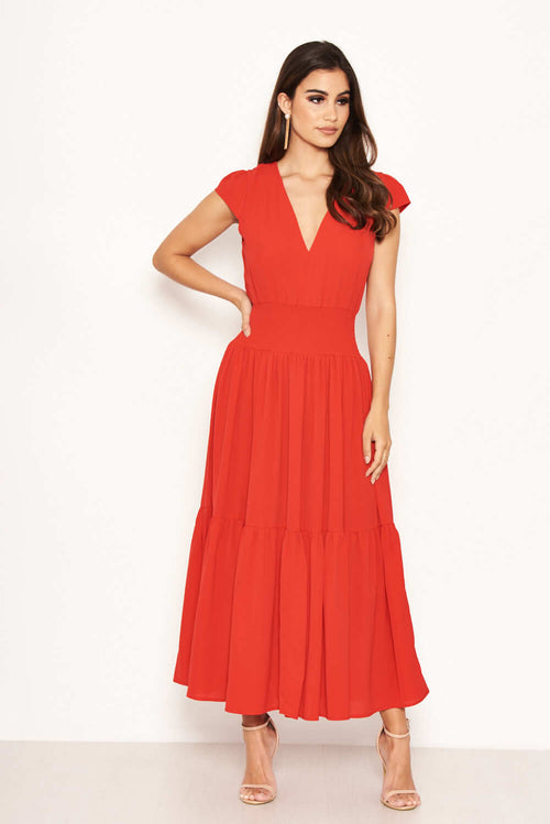 4568da228ce8 Red Elastic Waist Maxi Dress