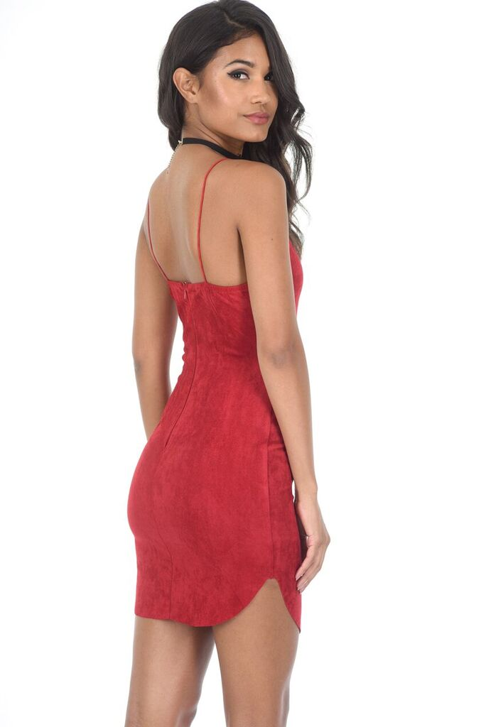 Red Faux Suede Mini Dress