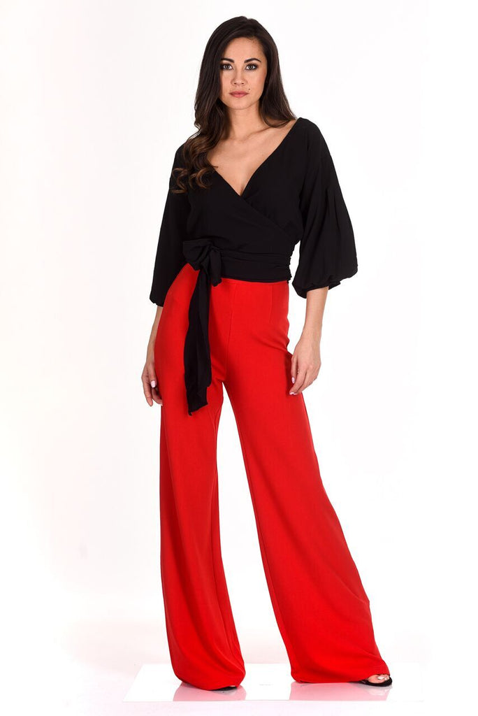 Red Flared High Waisted Trousers