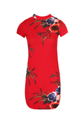Red Floral Bodycon Mini Dress