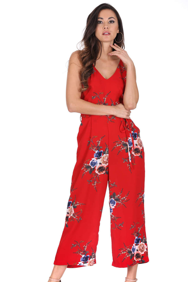 Red Floral Culotte Jumpsuit