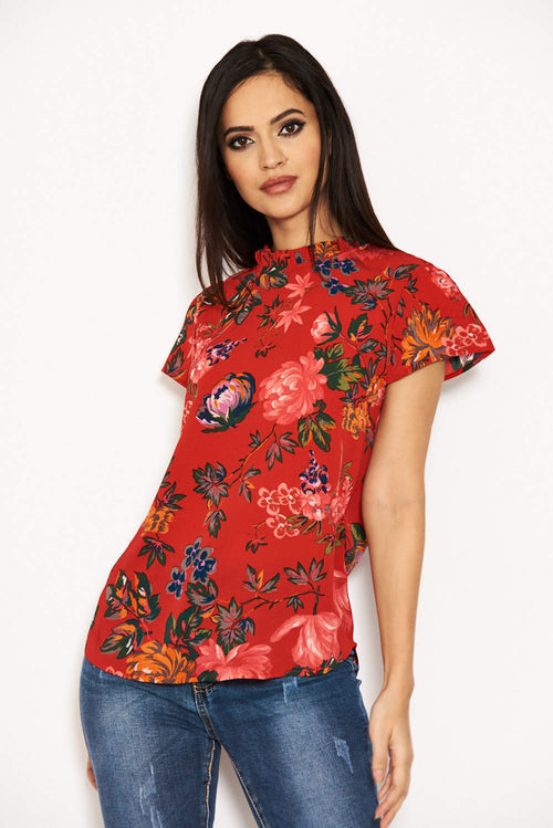7b9d93f66a67 Red Floral High Neck Frill Top