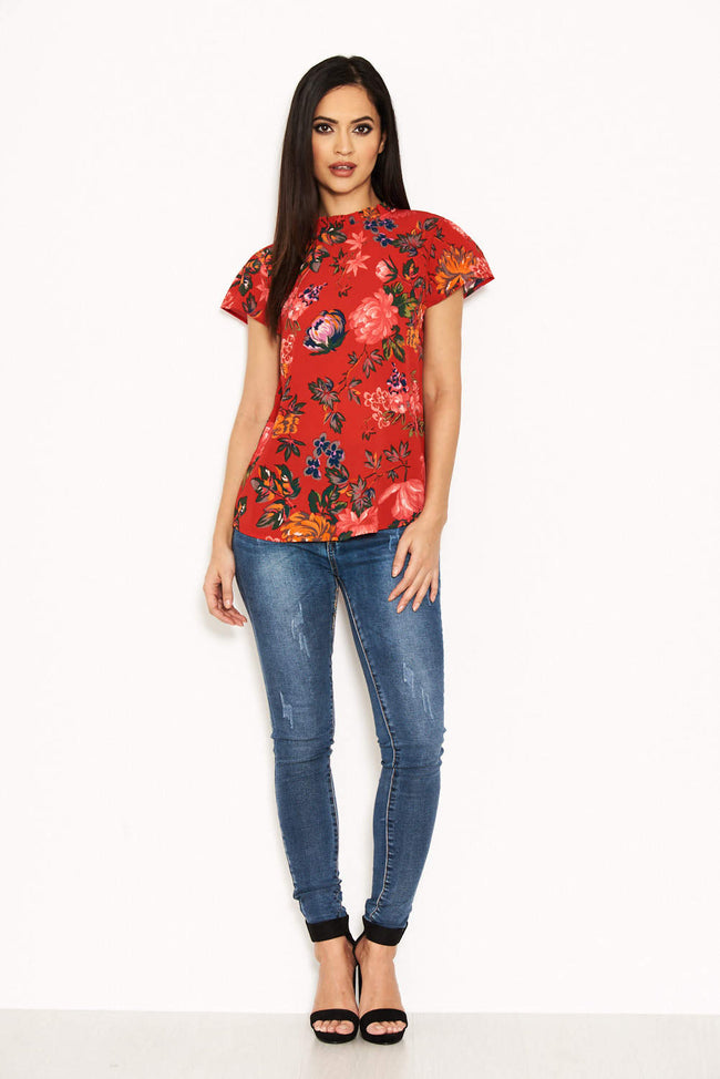 Red Floral High Neck Frill Top