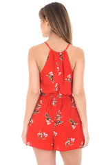 Red Floral Print Drawstring Playsuit