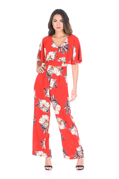 Red Floral Print Jumpsuit