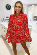 Red Floral Printed Shirt Dress
