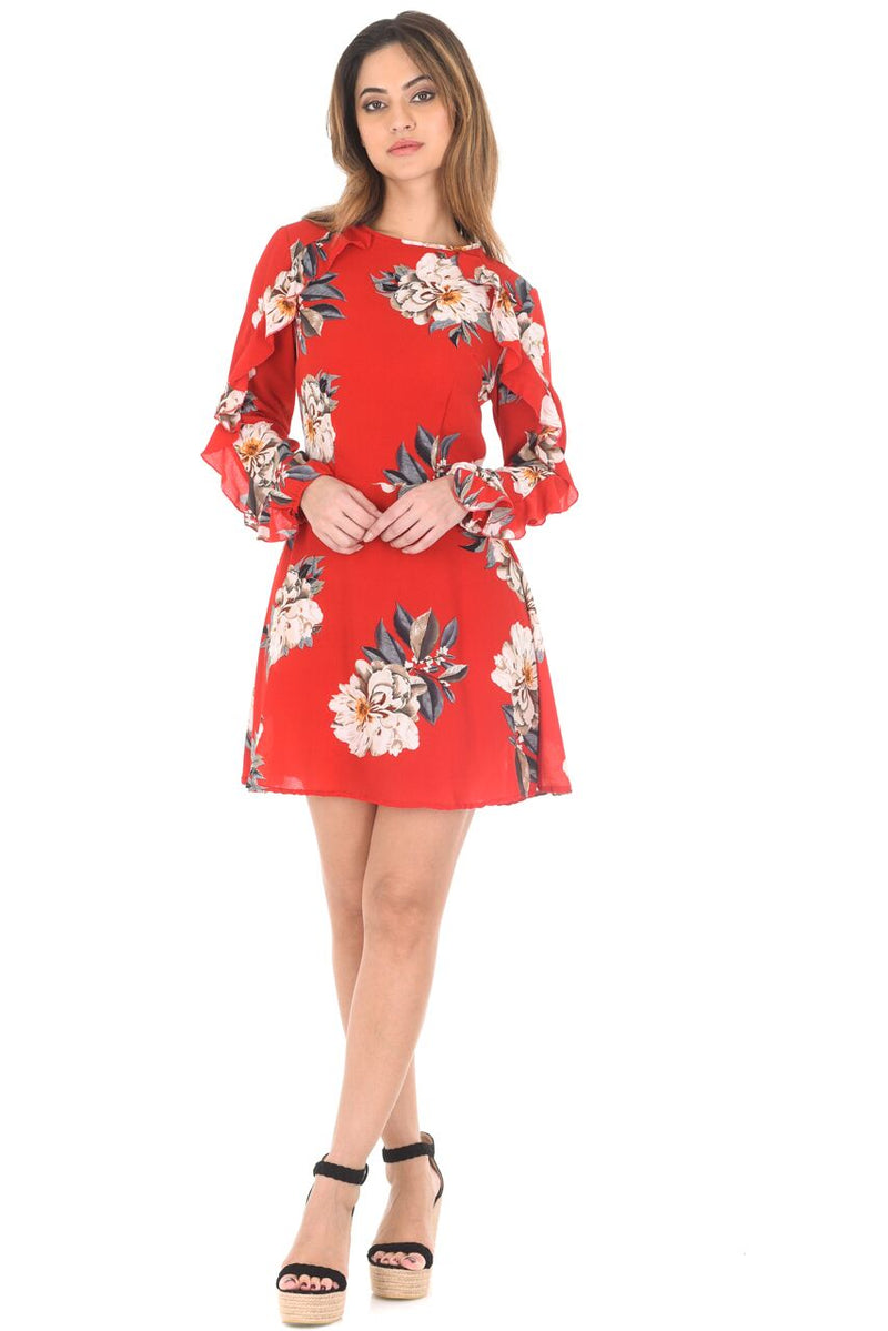 Red Floral Skater Dress With Frill Detail