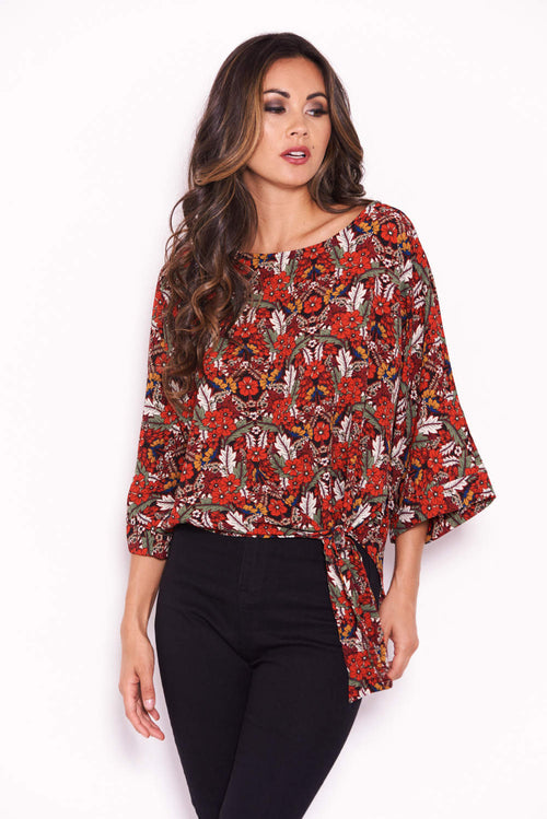 Red Floral Wide Sleeve Top