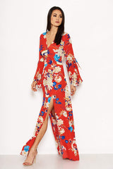 Red Floral Print Dress With Leg Split