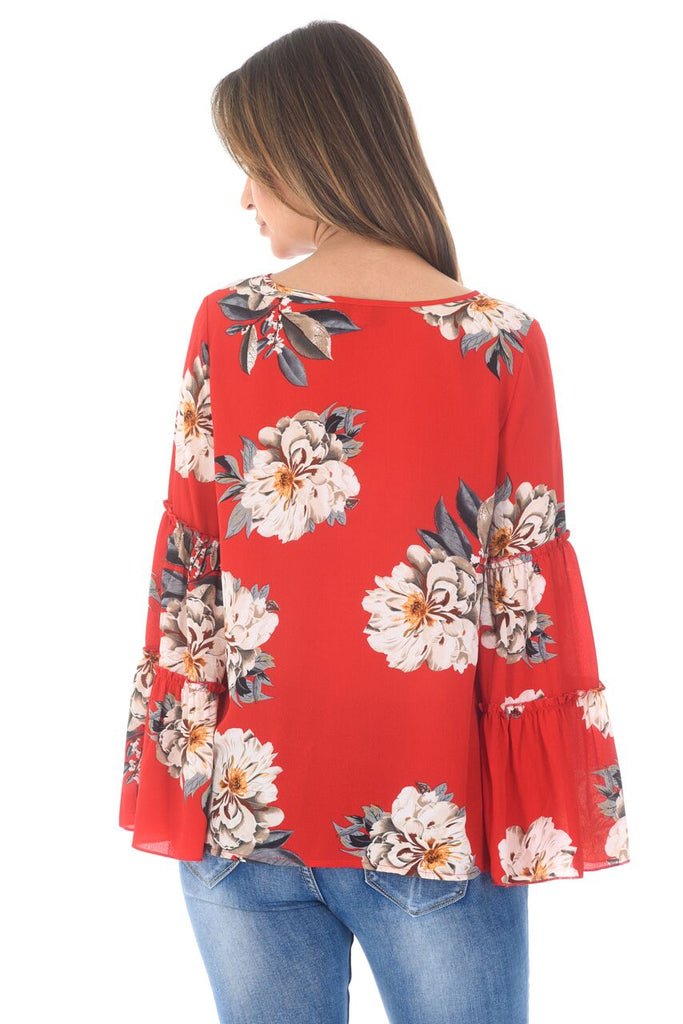Red Foral Printed Double Frill Sleeve Top