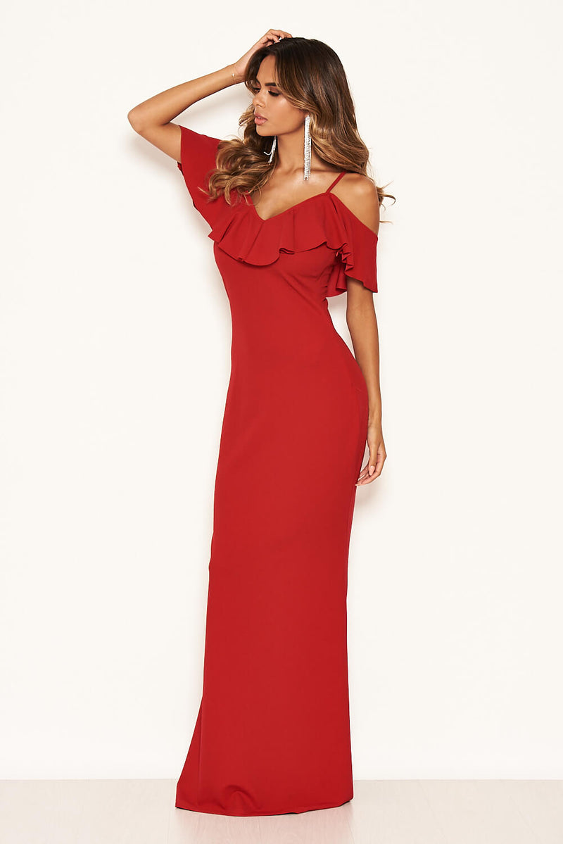 Red Frill Cold Shoulder Maxi Dress