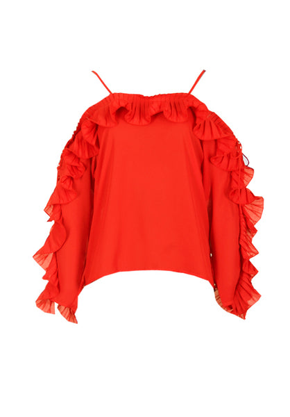 Red Frill Detail Off The Shoulder Top