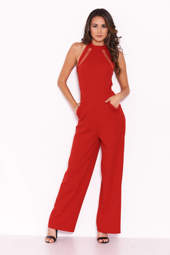Red Sheer Paneled Jumpsuit With Cut Out Detailing
