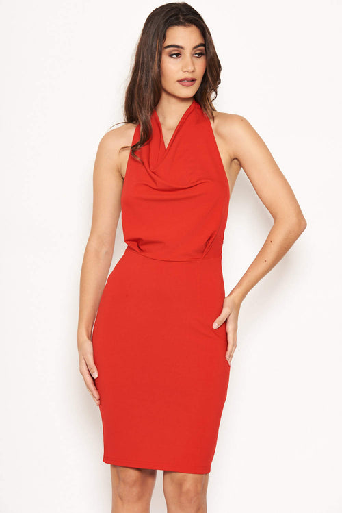 Red Halterneck Cowl Dress