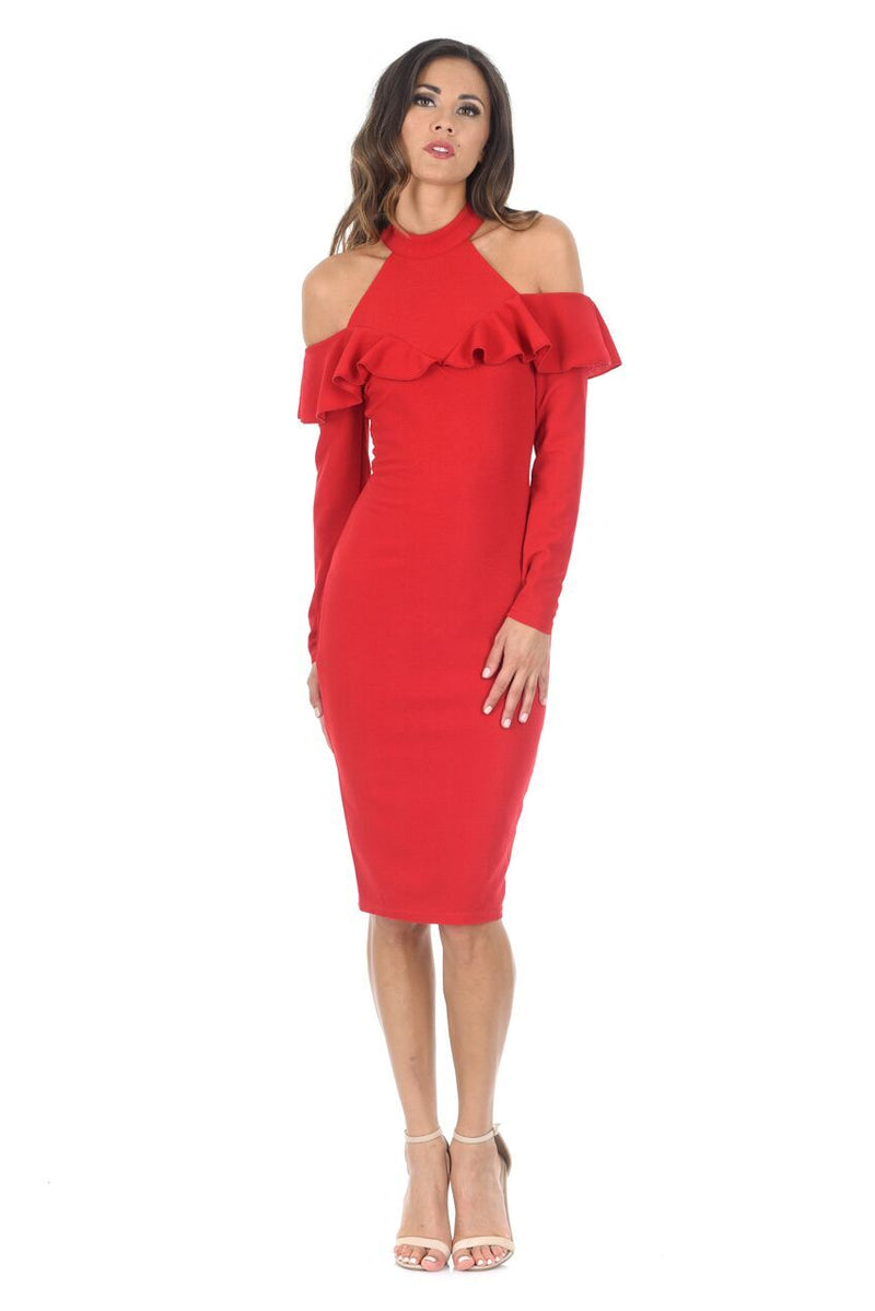 Red High Neck Cold Shoulder Long Sleeved Midi Dress