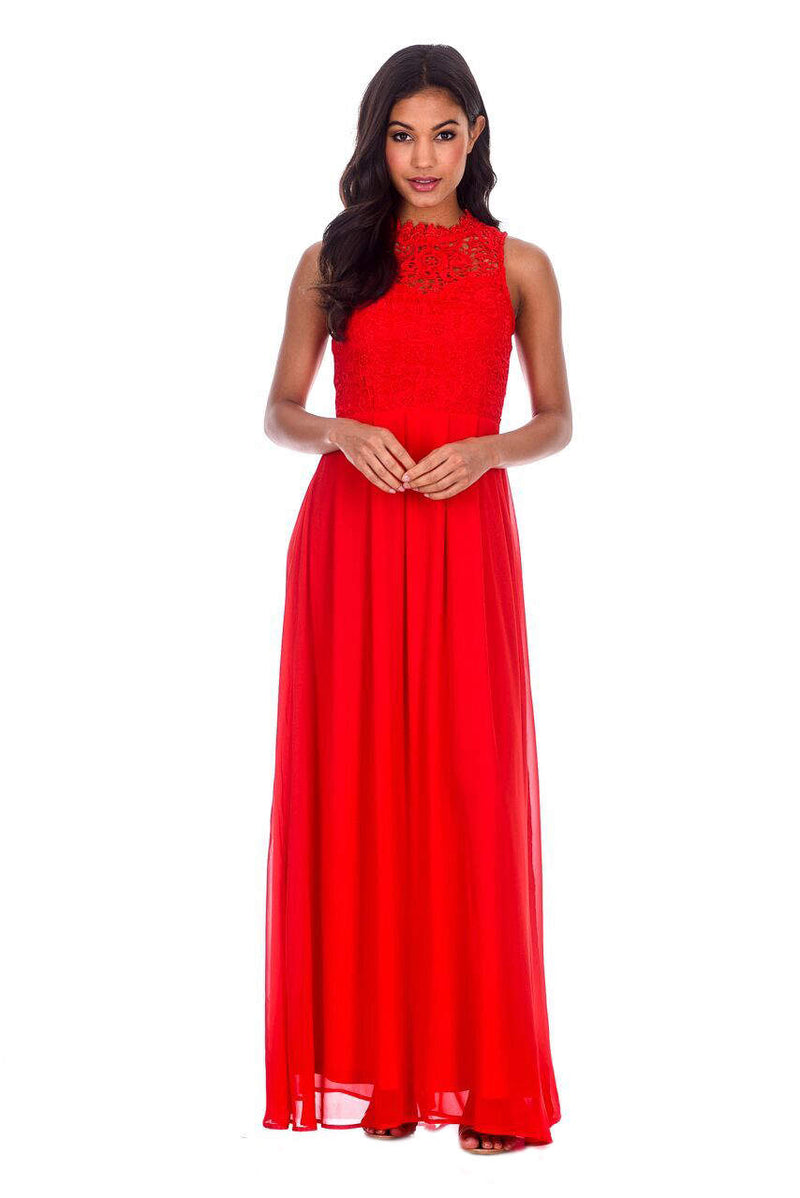 Red High Neck Crochet Maxi Dress