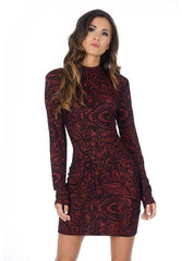 Red High Neck Long Sleeved Printed Bodycon Dress
