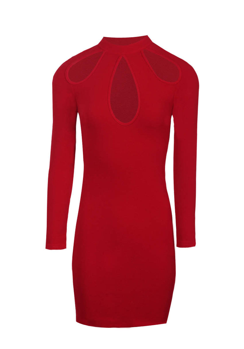 Red Keyhole Detail Dress