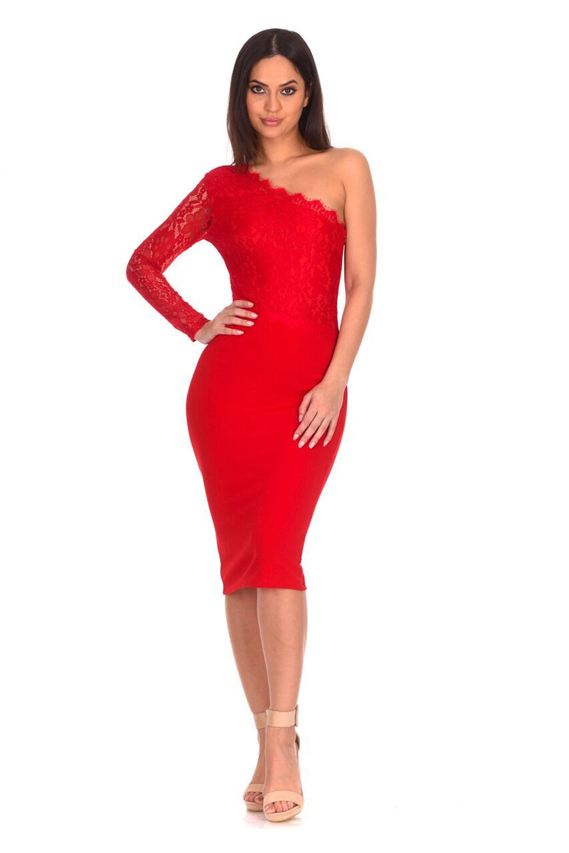 Red Lace Detail Asymmetric Midi Dress