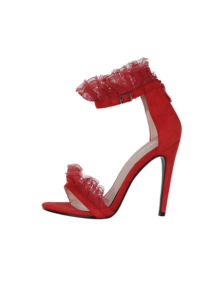 Red Lace Detail Stiletto Heels