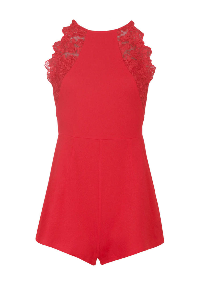Red Lace Detail playsuit