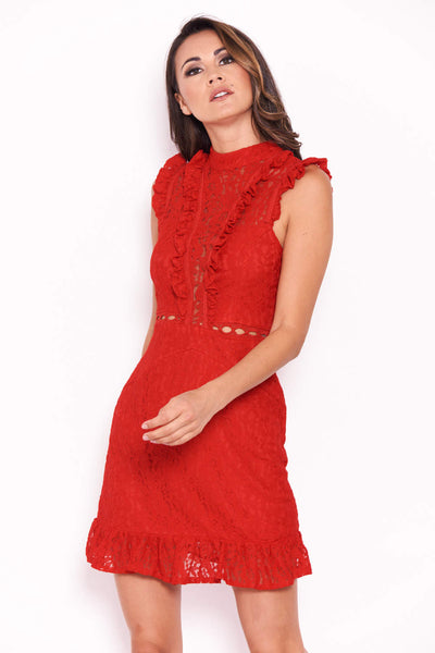 Red Lace Frill Detail Dress